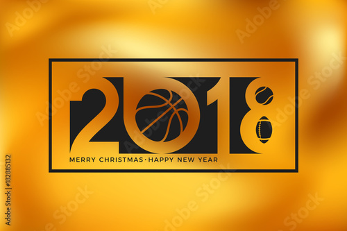 Papiers peints Echelle de hauteur Merry Christmas and Happy New Year. Abstract flyer on gold background