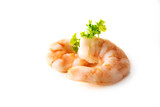 tiger prawn shrimps, peeled and boiled, parsley garnish, isolated on a white background, close up - 182885598