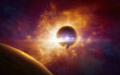 Supermassive extraterrestrial life form in outer space, dark red planet in twisted galaxy - 182886342