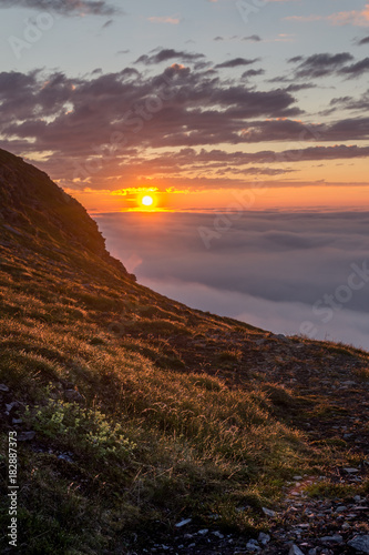 Foto op Canvas Gras Sunset in the fog on the rocks of Soroya Island, Norway