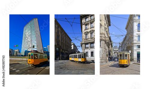 Foto op Aluminium Milan Tram a Milano Lombardia Italia Europa Streetcar in Milan Lombardy Italy Europe