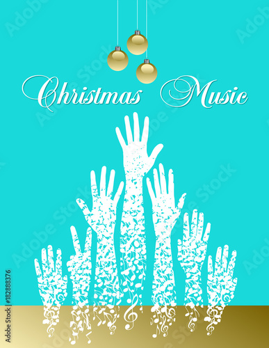Foto op Plexiglas Turkoois Musical theme Christmas tree made of musical notes for print or web use