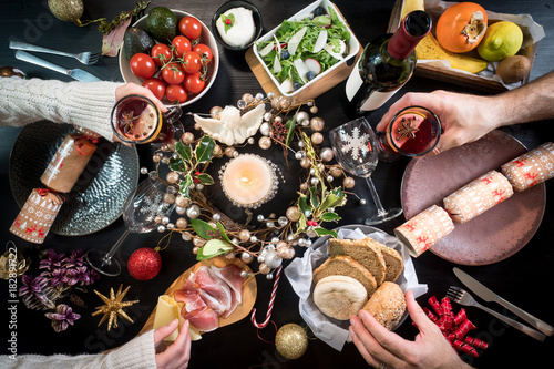 festive christmas table food hands celebration drink - 182891722