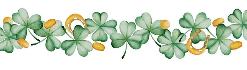Watercolor Saint Patrick's Day banner. Clover ornament. For design, print or background © masanyanka