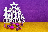 Christmas sign with Golden and purple background - 182893125