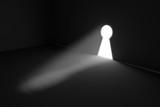 Keyhole rays volume light concept 3d illustration