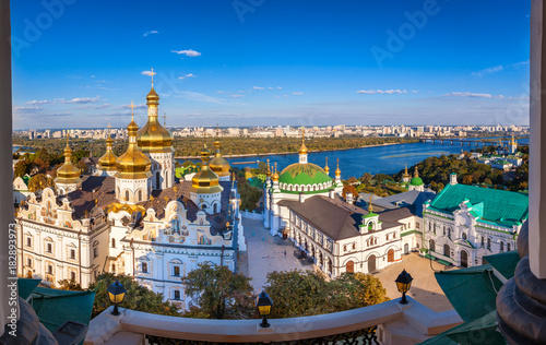 Foto op Plexiglas Kiev Panoramic view of Kiev Pechersk Lavra, Orthodox Monastery and Dnepr river. Kiev, Ukraine.