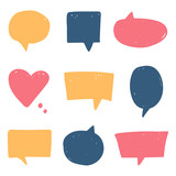 Set, collection of doodle, hand drawn colorful speech bubbles isolated on white background. - 182894180