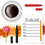 To-do list, a cup of coffee and a lollipop on a white background with grunge stains.