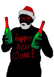 Santa Claus with bottles of champagne on a white background - 182894961