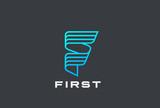 Letter F Logo ribbon design vector Linear. Hitech Technology - 182898548