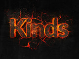 Kinds Fire text flame burning hot lava explosion background. - 182898564