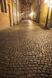 View of cobblestone paving on the empty Kramarska Street at the Main Town (Old Town) in Gdansk, Poland, in the evening. Focus on the foreground. - 182902174