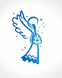 Angel holds the star in his hands. Simple Angel vector illustration of a free hand line. - 182904935