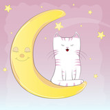 Cute white cat sitting on the moon.
