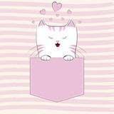 Cute cat girl in the pocket, Greeting card.