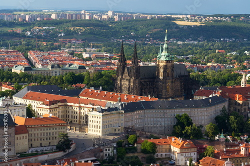 Staande foto Praag Prague panorama with St. Vitus Cathedral and Prague Castle