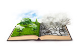An open book. Bipolarity. On one side, nature, on another smog and a drought isolated on a white background