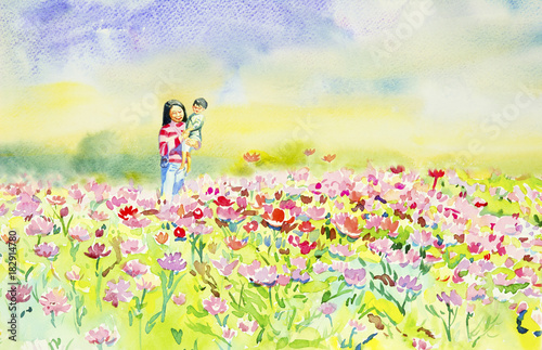 Fotobehang Zwavel geel Painting watercolor of daisy flowers and Mother,son.
