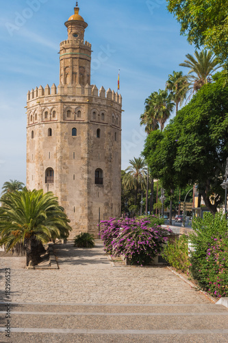 Golden tower or Torre del Oro along the Guadalquivir river, Seville, Andalusia, Spain.