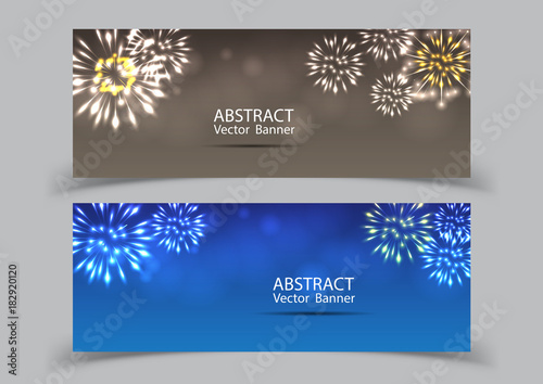 fireworks on twilight banner background vector firework new year holiday celebration