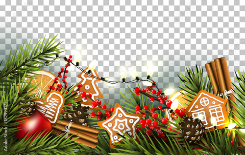 Deurstickers Wanddecoratie met eigen foto Traditional Christmas border