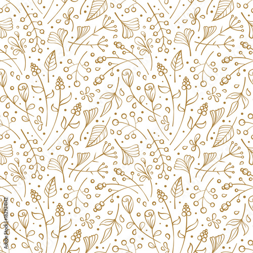 Flowers and herbs seamless pattern © sablegear