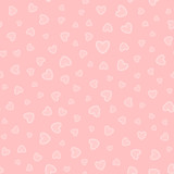 Randomly scattered hearts. Cute seamless pattern.
