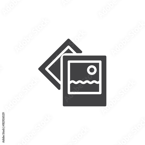 Photo landscape icon vector, filled flat sign, solid pictogram isolated on white. Travel photography symbol, logo illustration.