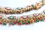 Woman luxury fashion necklace with gemstones, diamonds and crystals.