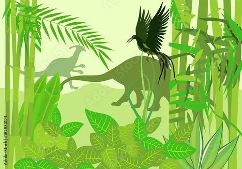 Foto op Aluminium Lime groen Prehistoric wildlife scene, dinosaurs silhouettes in the ancient forest, vector.