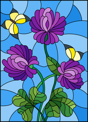 Illustration in stained glass style with bouquet of purple   clover and yellow butterflies on a sky background