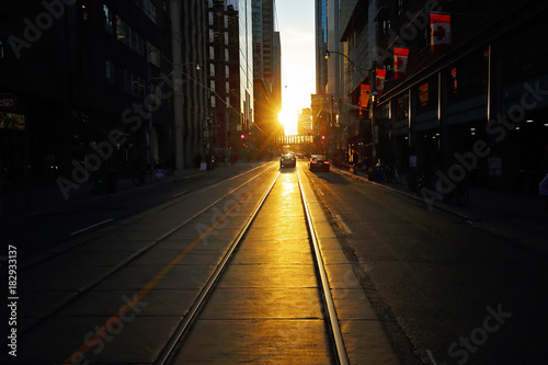 Fotobehang Toronto TORONTO, CANADA – OCTOBER 16: Toronto downtown streets at sunset on 16 of October, 2016.