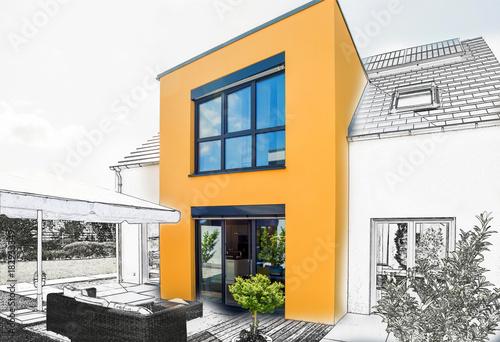 Fridge magnet Einfamilienhaus- Bauentwurf, Skizze
