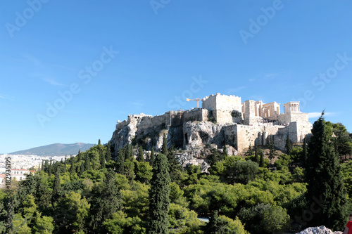Staande foto Athene View of Acropolis and Lycabettus Hill from Areopagus hill