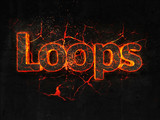 Loops Fire text flame burning hot lava explosion background. - 182936399