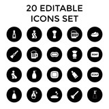 Foam icons. set of 20 editable filled foam icons - 182937502