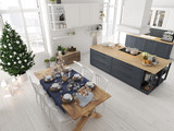 nordic kitchen with christmas decoration. 3d rendering - 182939365