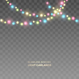 Vector seamless horizontal strings of realistic colored light garlands. Festive decoration with shiny Christmas lights. Glowing bulbs of the different sizes isolated on the transparent background.