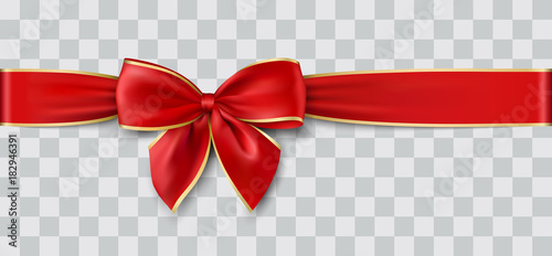 Foto op Canvas Wanddecoratie met eigen foto red ribbon and bow with gold for Christmas, vector illustration