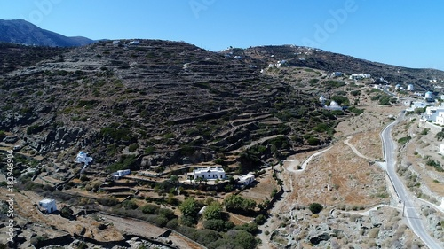 Plexiglas Donkergrijs Grèce Cyclades île de Sifnos Kastro vu du ciel