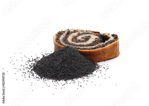 Poppy seed bread, cake isolated on white background