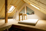 house attic under construction mansard wall insulation with rock wool - 182949967