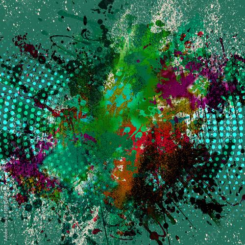 Fotobehang Reznik яркий абстрактный фон с атомами
