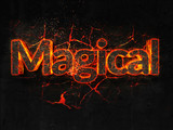 Magical Fire text flame burning hot lava explosion background. - 182952796