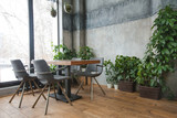 Cafe interior with green decor - 182955991