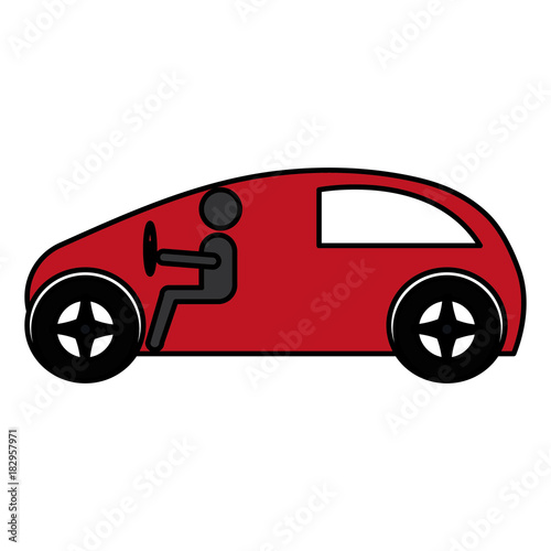 Sticker modern car with driver silhouette vector illustration design