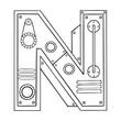 Mechanical letter N engraving vector illustration