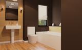 Scandinavian bathroom, classic  vintage interior design. 3D rendering. - 182962514