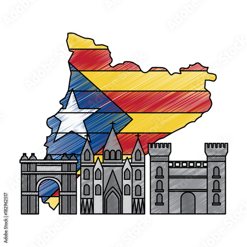 catalonia barcelona with flag map and buildings symbol set vector illustration